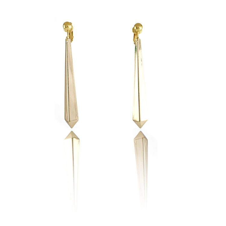 Accessories Geometric Drop Clip On Earrings - Gold
