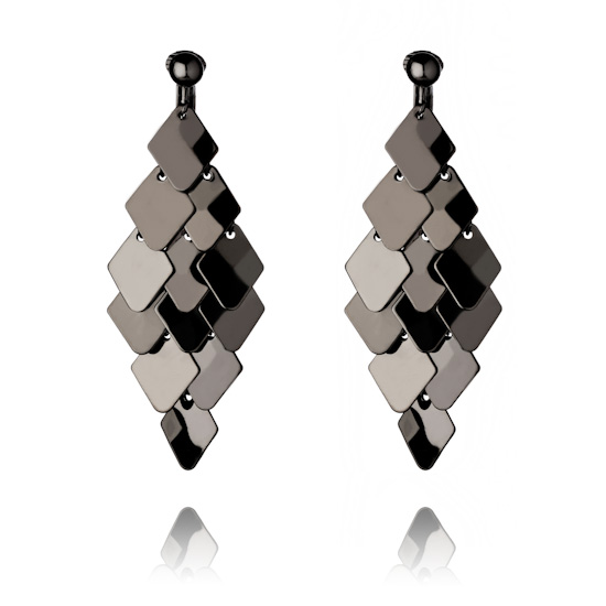 Gunmetal Plate Chandelier Clip On Earrings :  clubwear