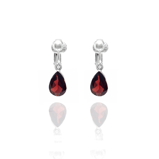 Red Garnet Gemstone Teardrop Clip On Earrings