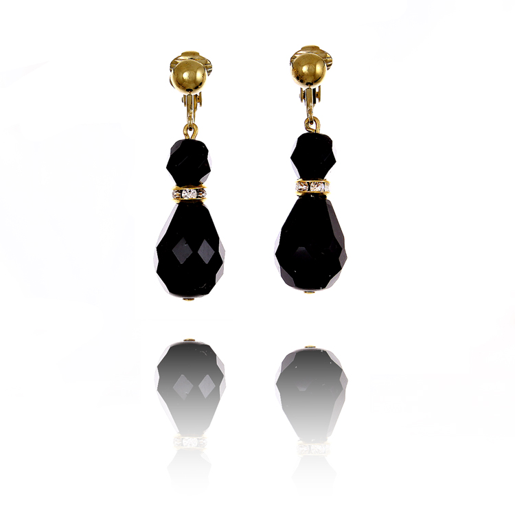 Black Drop Clip On Earrings