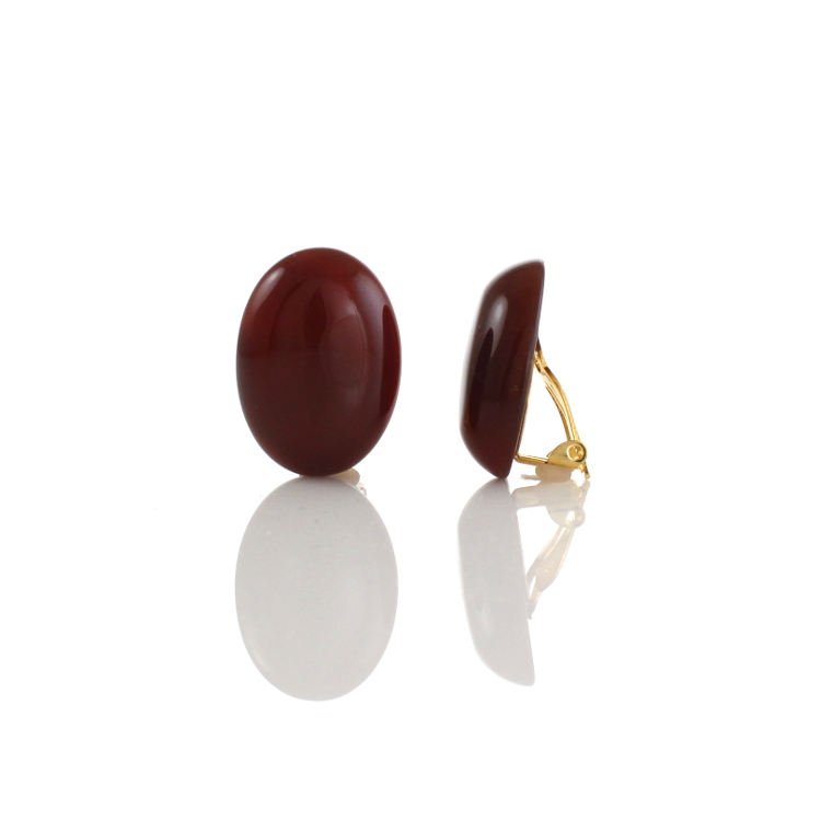 Agate Cabouchon Clip On Earrings