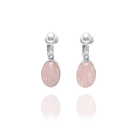 Rose Quartz Gemstone Oval Clip On Earrings