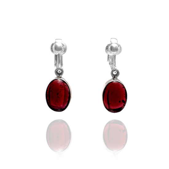Red Garnet Gemstone Oval Clip On Earrings