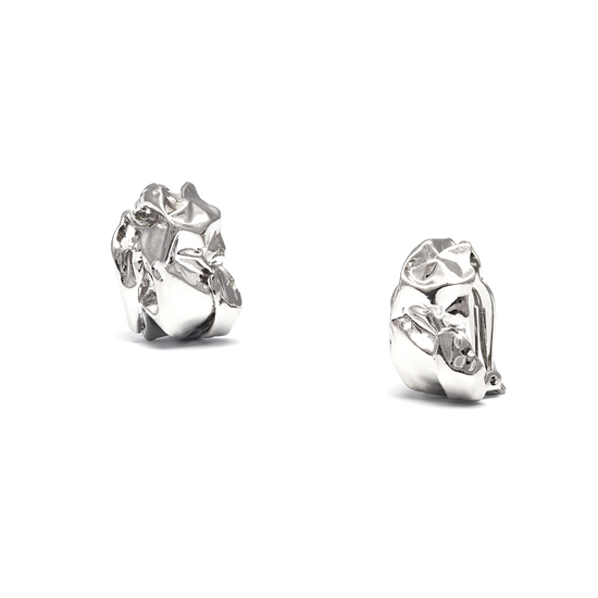 Barbara Easton Sweet Foil Clip On Earrings - Silver