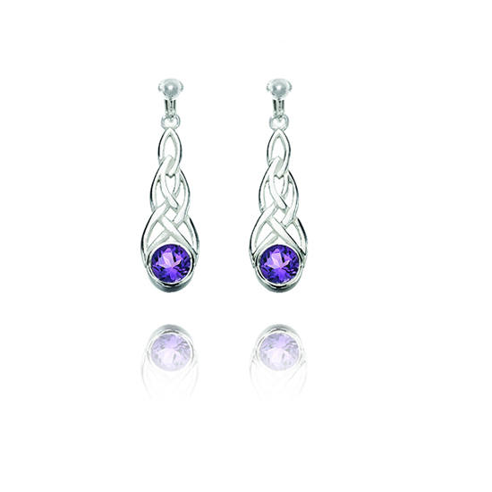 Basics Sterling Silver Celtic Swirl Clip On Earrings - Purple