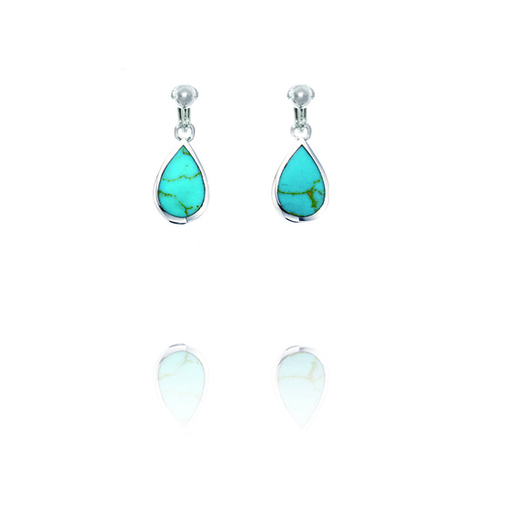 Basics Sterling Silver Turquoise Coloured Teardrop Clip On Earrings