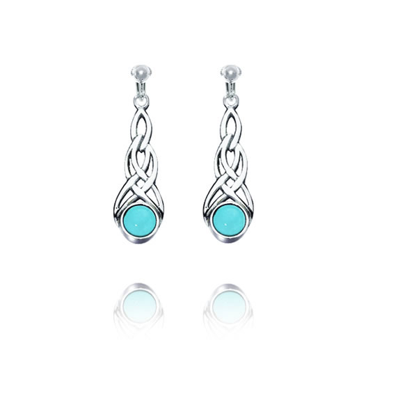 Basics Sterling Silver Celtic Swirl Clip On Earrings - Turquoise-Coloured