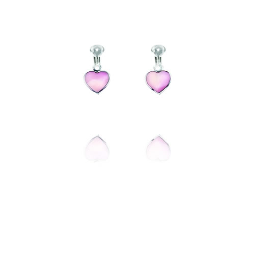 Basics Sterling Silver Mother of Pearl Pink Heart Clip On Earrings
