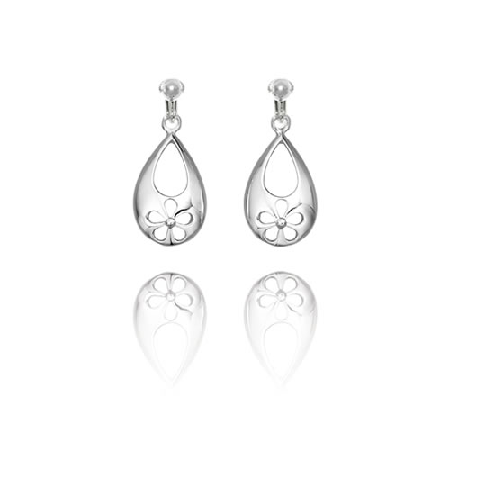 Basics Sterling Silver Cut Out Flower Teardrop Clip On Earrings