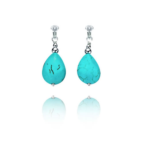 Basics Sterling Silver Imitation Turquoise Teardrop Clip On Earrings