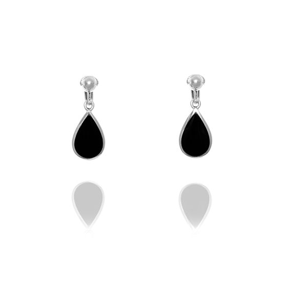 Basics Sterling Silver and Onyx Drop Clip On Earrings