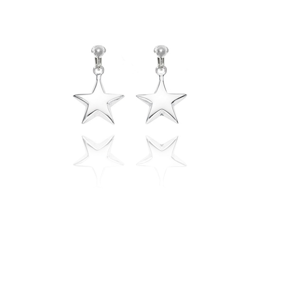 Basics Sterling Silver Classic Star Clip On Earrings