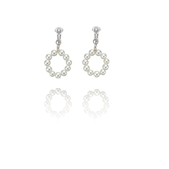 Basics Sterling Silver Imitation Pearl Hoop Clip On Earrings