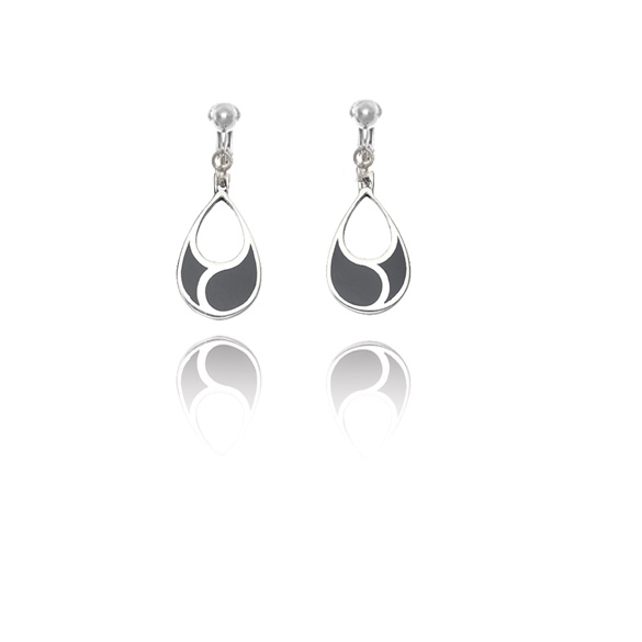 Basics Sterling Silver Imitation Black Onyx Teardrop Clip On Earrings
