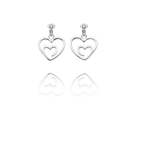 Basics Sterling Silver Contemporary Heart Clip On Earrings