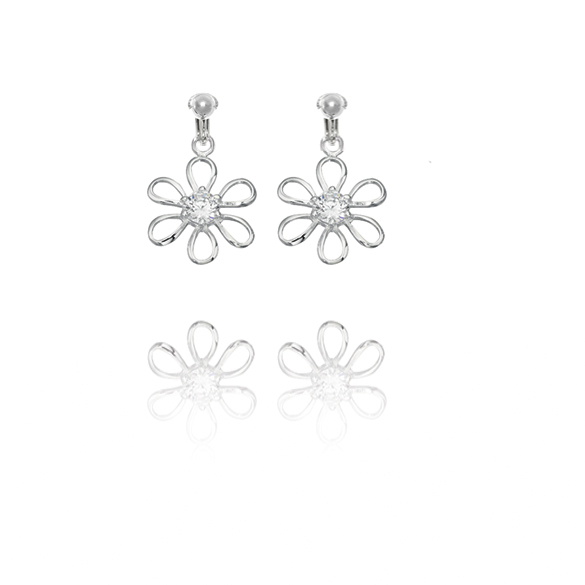 Basics Sterling Silver Cubic Zirconia Flower Clip On Earrings