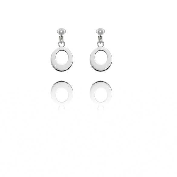 Basics Sterling Silver Circular Disc Hoop Clip On Earrings