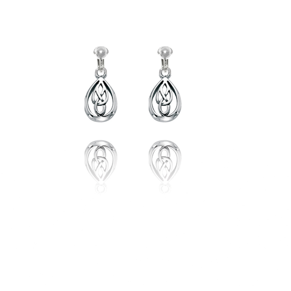 Basics Sterling Silver Celtic Design Teardrop Clip On Earrings