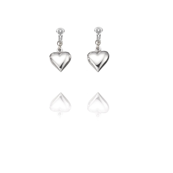 Basics Sterling Silver Classic Heart Clip On Earrings