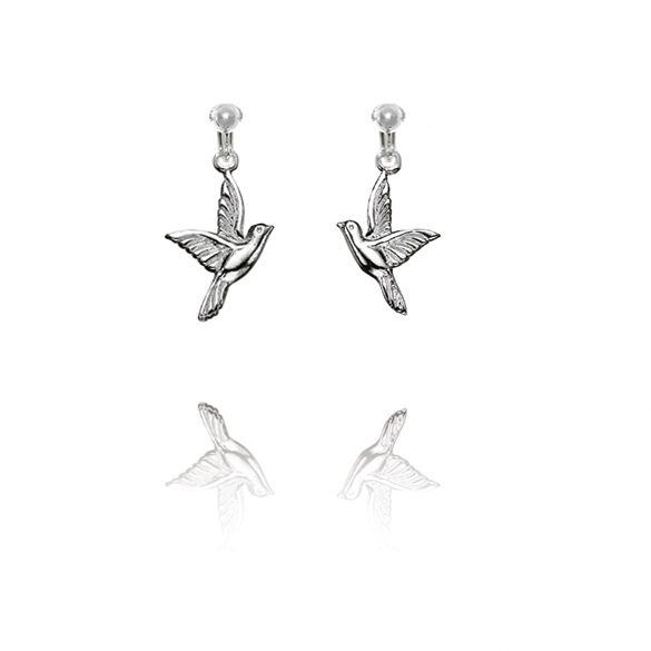 Basics Sterling Silver Bird Clip On Earrings