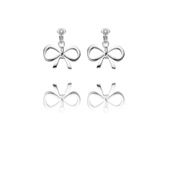 Basics Sterling Silver Bow Clip On Earrings