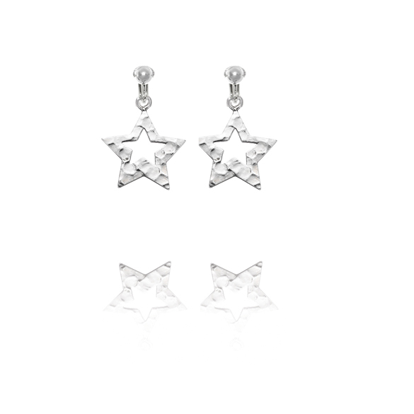 Basics Sterling Silver Hammered Finish Star Clip On Earrings
