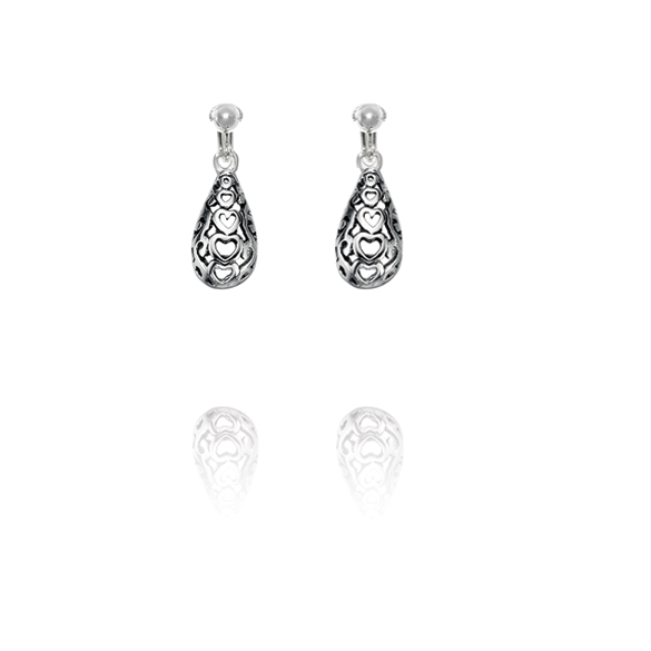 Basics Sterling Silver Cut Out Heart Teardrop Clip On Earrings