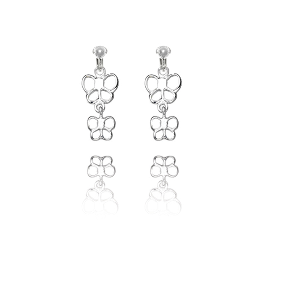 Basics Sterling Silver Double Butterfly Clip On Earrings