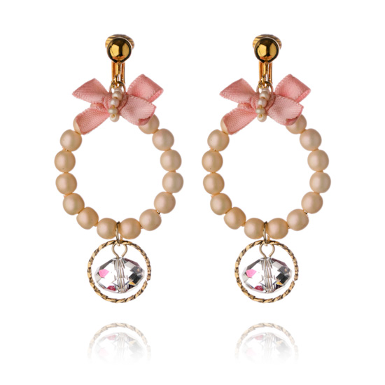 Bow and Bead Pearl Hoop Clip On Earrings - Peach Pearl