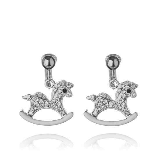 Crystal Rocking Horse Clip On Earrings - Silver