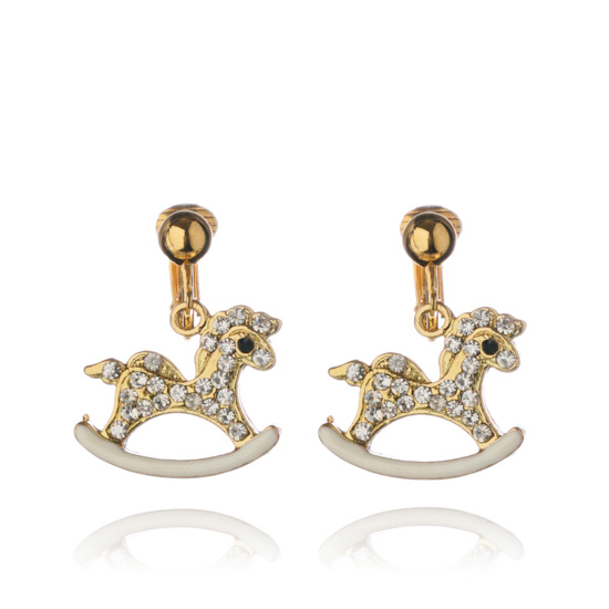 Crystal Rocking Horse Clip On Earrings - Gold