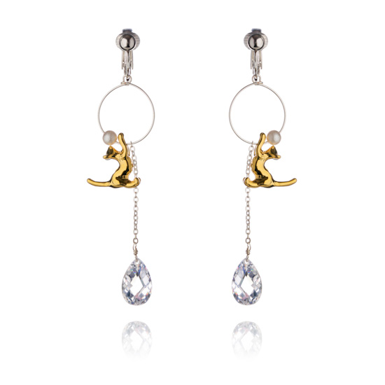 Feline Attractions Clip On Earrings - Gold Cat