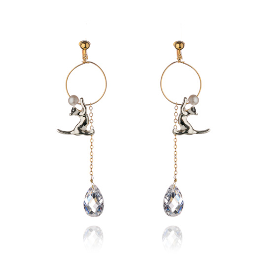 Feline Attractions Clip On Earrings - Silver Cat