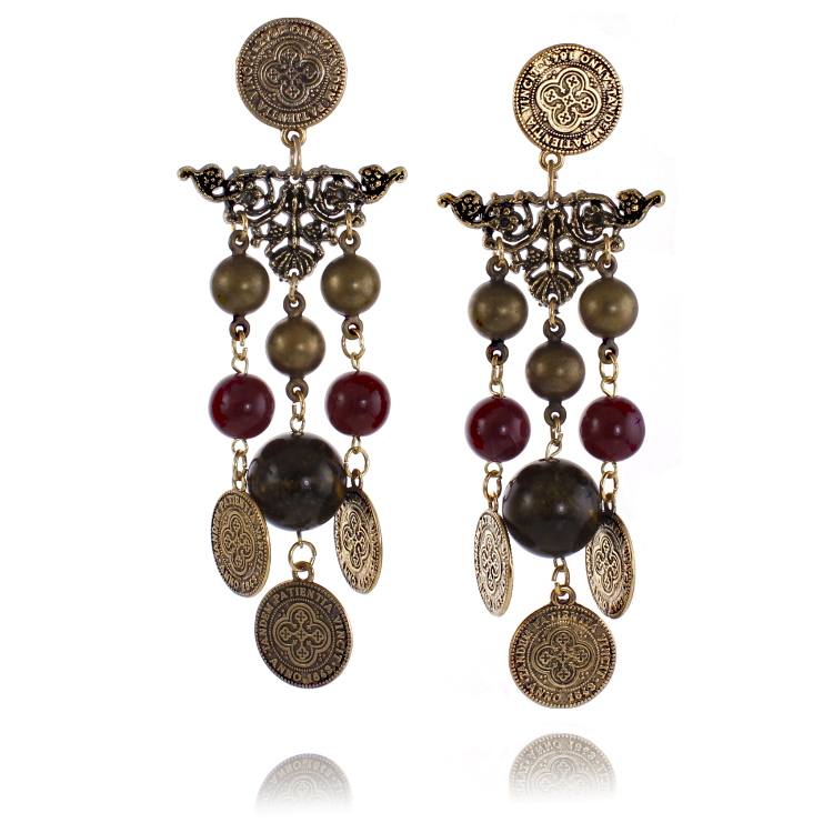 De Mulieribus Claris Patience Wins Coin Chandelier Clip Earrings