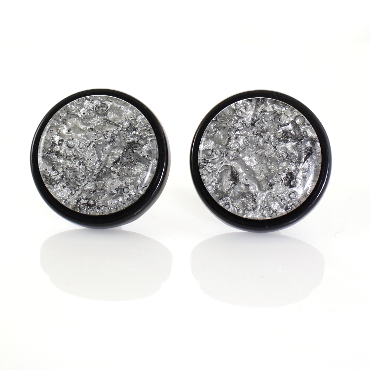 De Mulieribus Claris Marbled Button Clip On Earrings