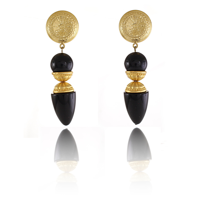 De Mulieribus Claris Statement Gold & Black Drop Clip On Earrings