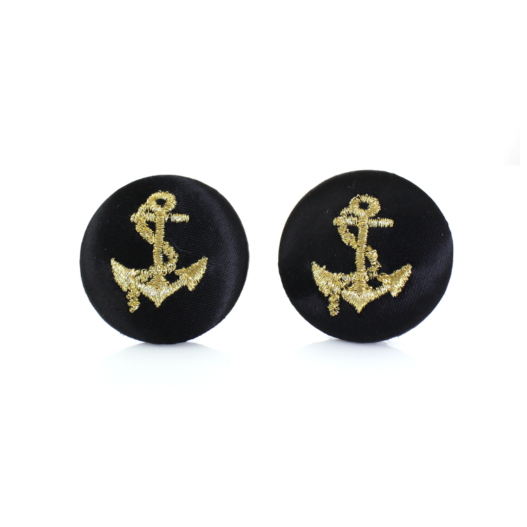 De Mulieribus Claris Mariner's Anchor Button Clip On Earrings