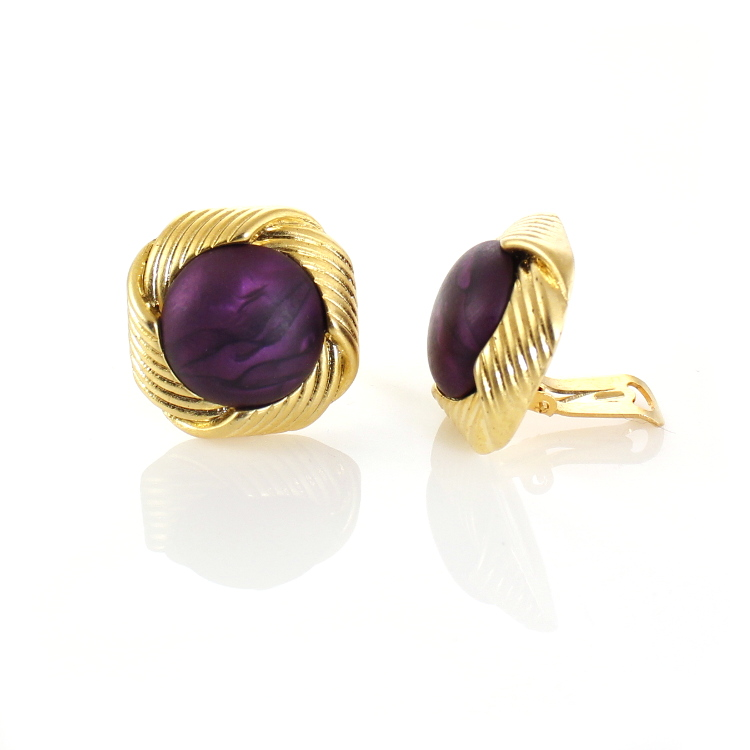De Mulieribus Claris Onassis Swirl Clip On Earrings