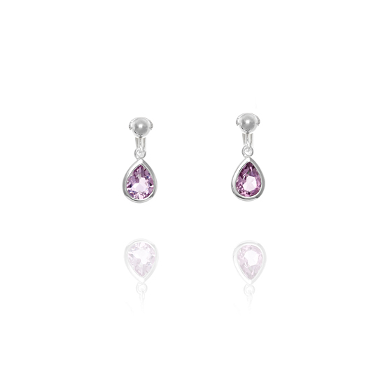 Elements Silver Amethyst Teardrop Clip On Earrings