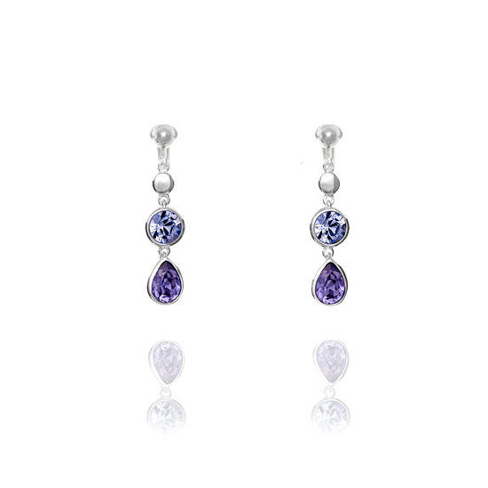 Elements Silver Blue and Amethyst Swarovski Drop Clip On Earrings