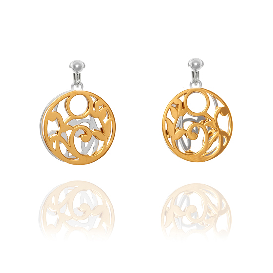 Elements Silver Gold Plated Circular Disc Clip On Earrings