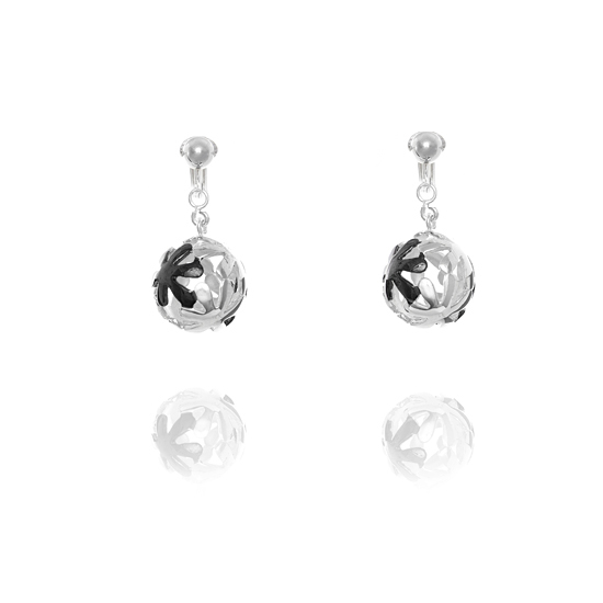 Elements Silver Black Flower Ball Clip On Earrings