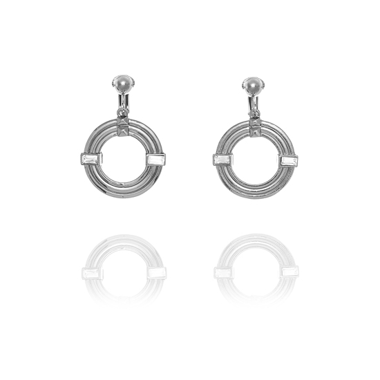 Fiorelli Lined Embossed Hoop Clip On Earring