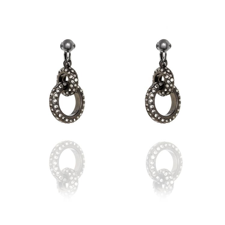 Fiorelli Gunmetal Entwinned Ring Clip Earrings