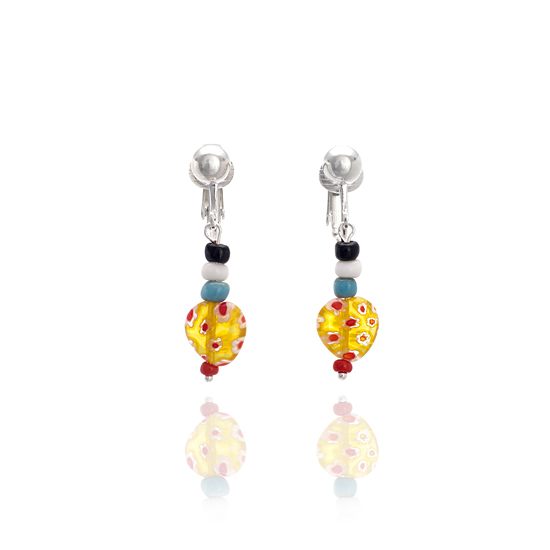 Baby Candy Round Clip On Earrings - Yellow/Red