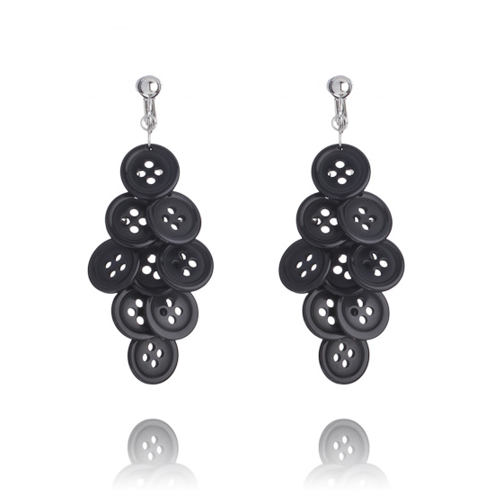 Button Cascade Clip On Earrings - Black