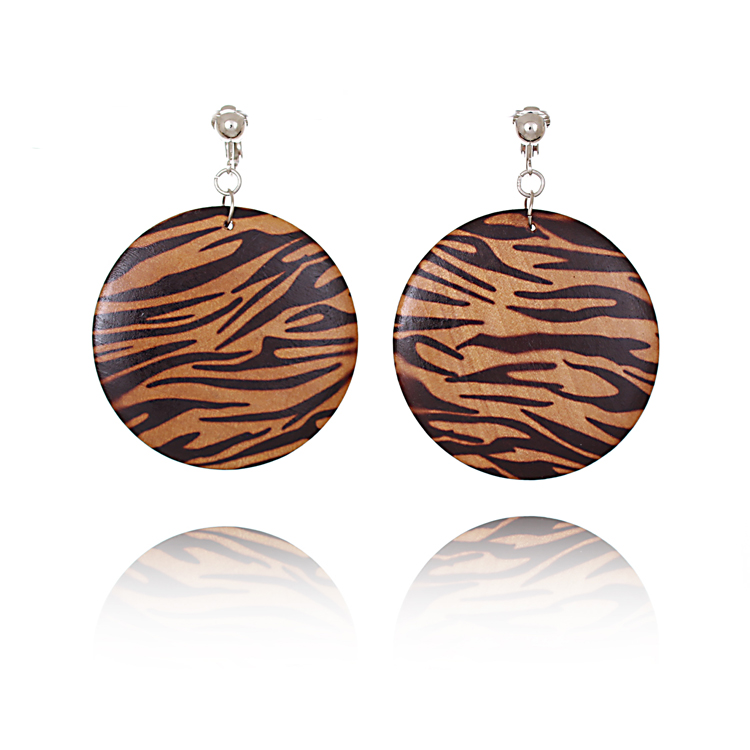 Wooden 6cm Disc Clip On Earrings - Tiger Print