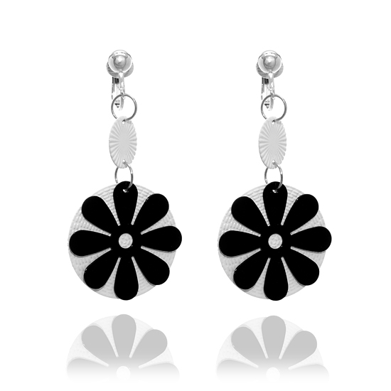 Black and White Flower Clip On Earrings