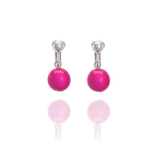 Glowball Clip On Earrings - Fuschia