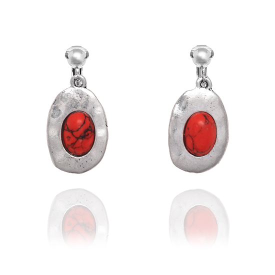 Look East Double Oval Clip On Earrings - Red